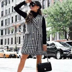 Zara tweed checked plaid sleeveless wrap dress